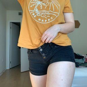 4-Button Black Denim Shorts